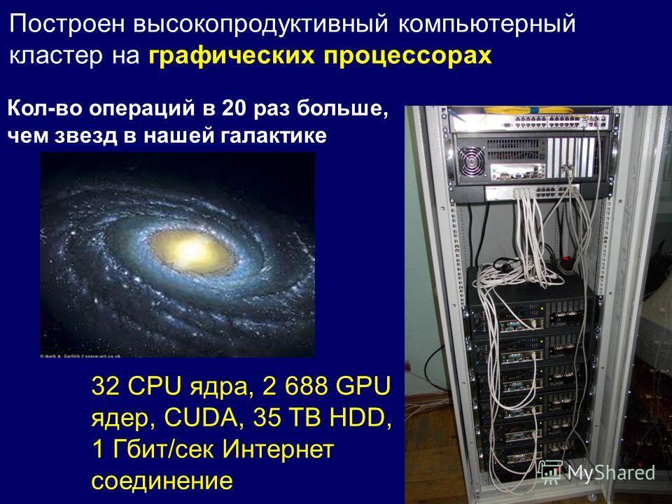 Построен высокопродуктивный компьютерный кластер на графических процессорах Кол-во операций в 20 раз больше, чем звезд в нашей галактике 32 CPU ядра, 2 688 GPU ядер, CUDA, 35 TB HDD, 1 Гбит/сек Интернет соединение