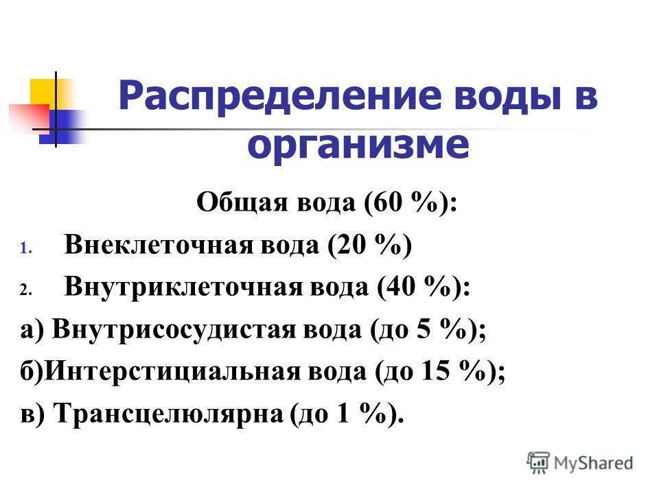 Распределение воды в организме Общая вода (60 %): 1. Внеклеточная вода (20 %) 2. Внутриклеточная вода (40 %): а) Внутрисосудистая вода (до 5 %); б)Интерстициальная вода (до 15 %); в) Трансцелюлярна (до 1 %).