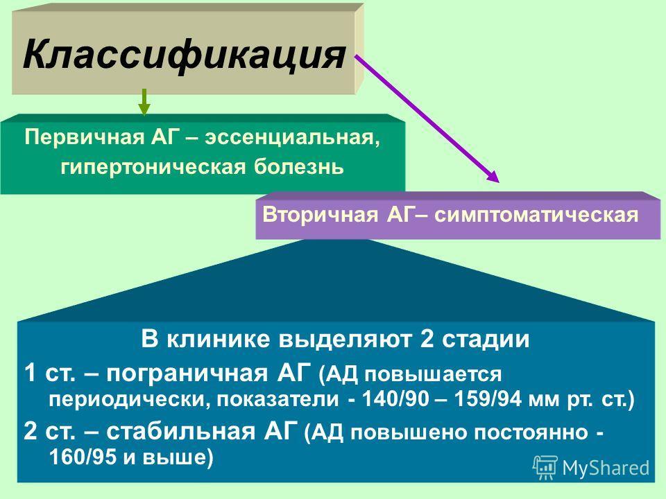 В клинике выделяют 2 стадии 1 ст. – пограничная АГ (АД повышается периодически, показатели - 140/90 – 159/94 мм рт. ст.) 2 ст. – стабильная АГ (АД повышено постоянно - 160/95 и выше) Классификация Первичная АГ – эссенциальная, гипертоническая болезнь