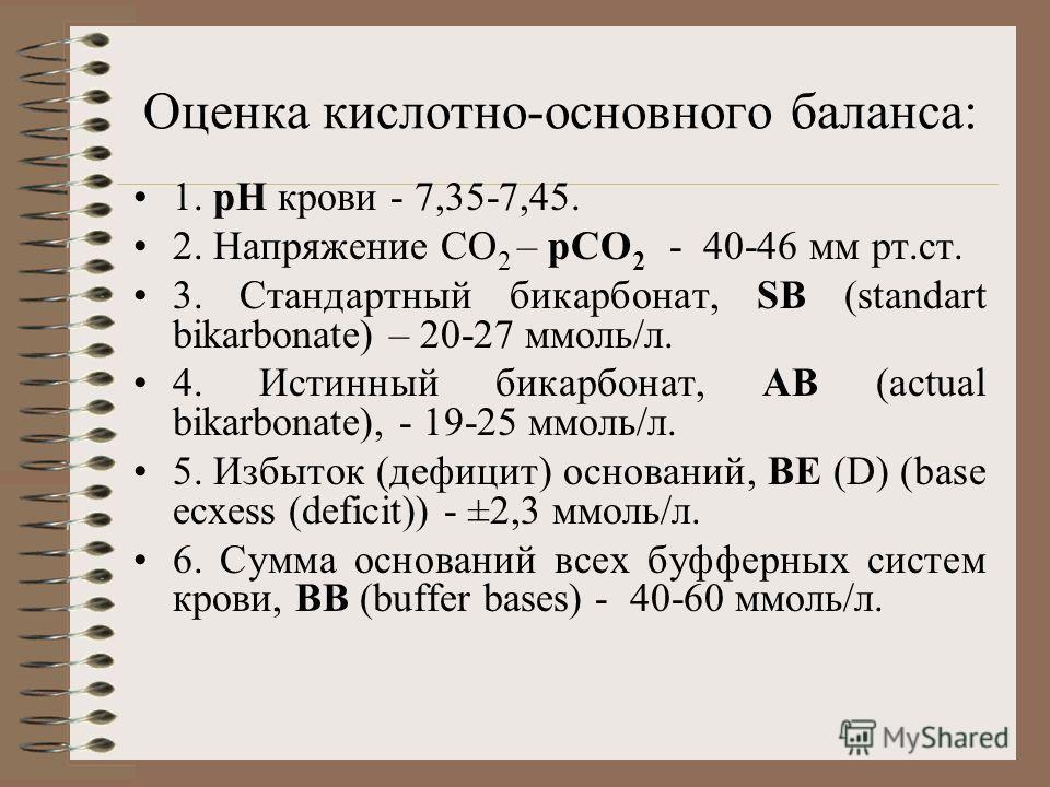 Оценка кислотно-основного баланса: 1. рН крови - 7,35-7,45. 2. Напряжение СО 2 – рСО 2 - 40-46 мм рт.ст. 3. Стандартный бикарбонат, SB (standart bikarbonate) – 20-27 ммоль/л. 4. Истинный бикарбонат, АВ (actual bikarbonate), - 19-25 ммоль/л. 5. Избыто