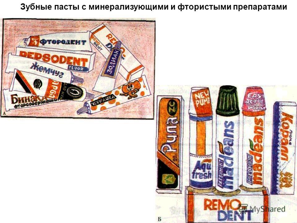 Зубные пасты с минерализующими и фтористыми препаратами