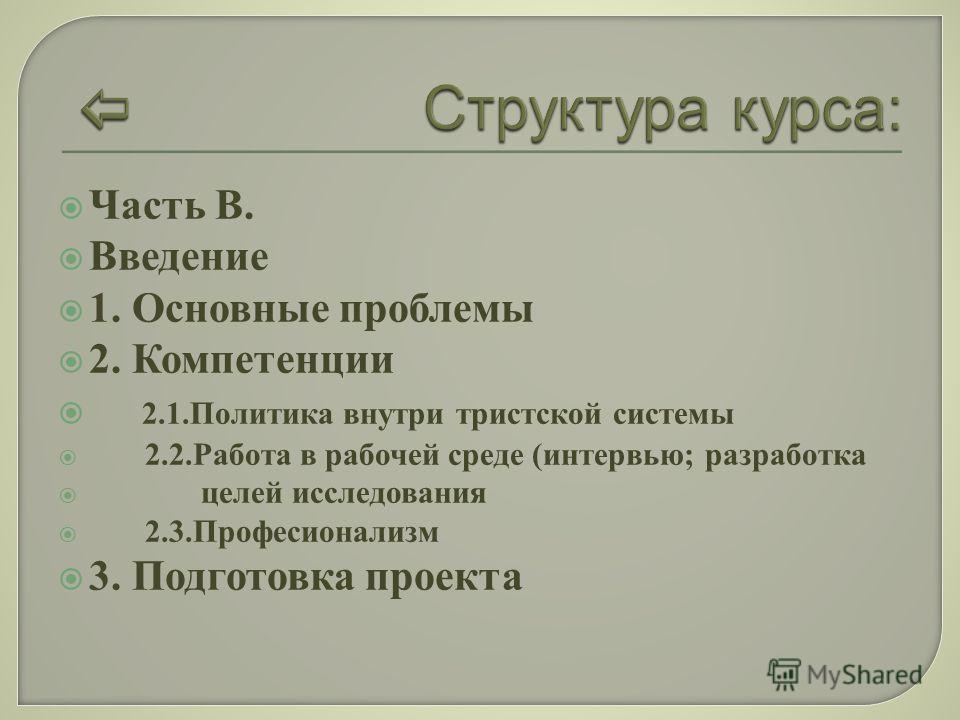 Часть B. Введение 1. Основные проблемы 2. Компетенции 2.1.Политика внутри тристской системы 2.2.Работа в рабочей среде (интервью; разработка целей исследования 2.3.Професионализм 3. Подготовка проекта