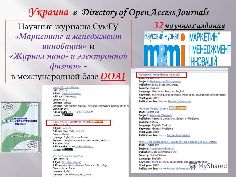 Научные журналы СумГУ « Маркетинг и менеджмент инноваций» и «Журнал нано- и электронной физики» - в международной базе DOAJ Украина в Directory of Open Access Journals 32 научных издания