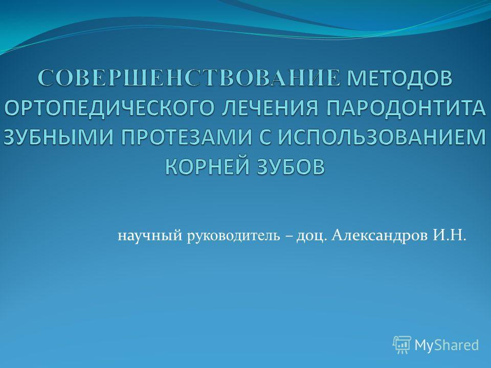 научный руководитель – доц. Александров И.Н.