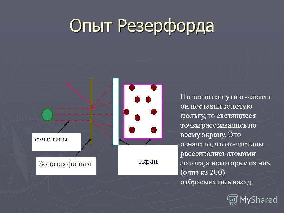 Опыт Резерфорда -частицы Светящийся экран Английский физик Резерфорд впервые поставил опыт, позволивший установить строение атома. Он направил узкий пучок - частиц на светящийся экран и видел, что светящиеся точки располагались кучно.