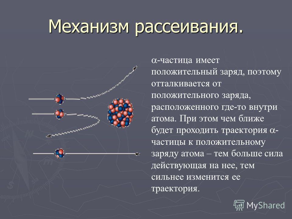 Причины рассеивания -частиц -частица Электрон Электрон, входящий в состав атома не мог рассеивать - частицы, так как масса - частицы примерно в 8000 раз больше массы электрона. Значит, -частицы рассеивались положительным зарядом атома, в котором соср