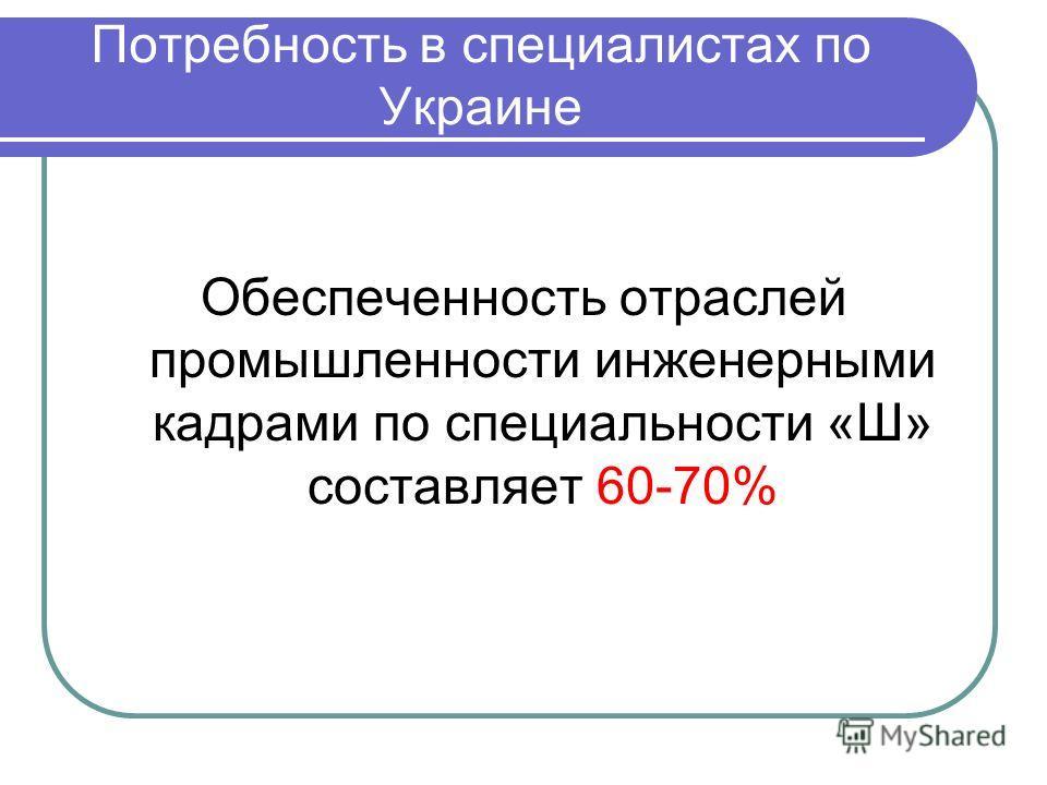 Потребность в специалистах по Украине Обеспеченность отраслей промышленности инженерными кадрами по специальности «Ш» составляет 60-70%