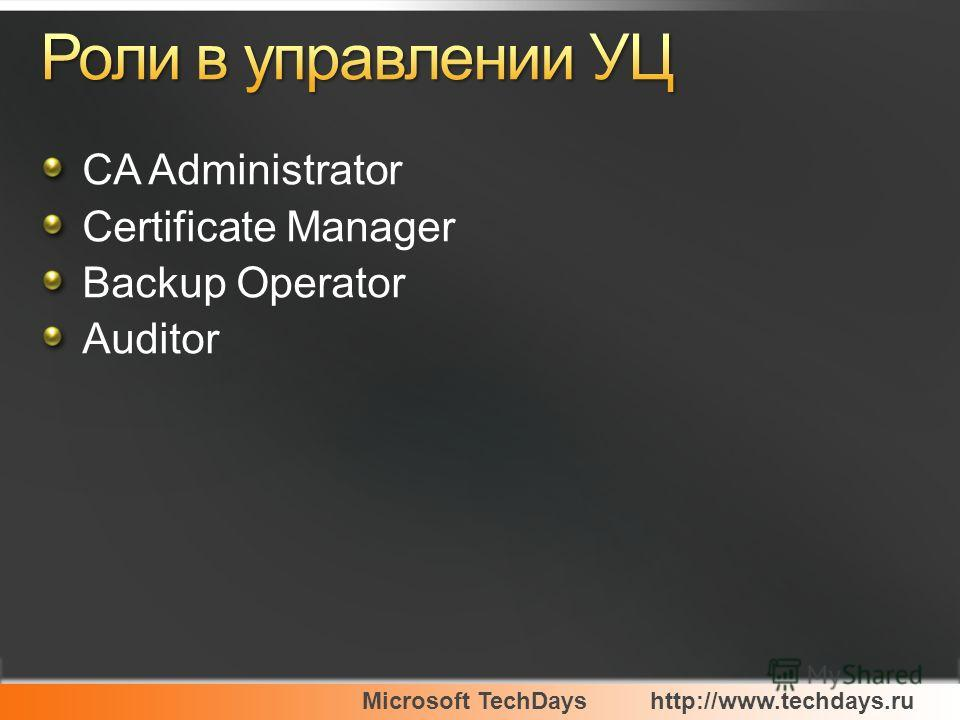 Microsoft TechDayshttp://www.techdays.ru CA Administrator Certificate Manager Backup Operator Auditor