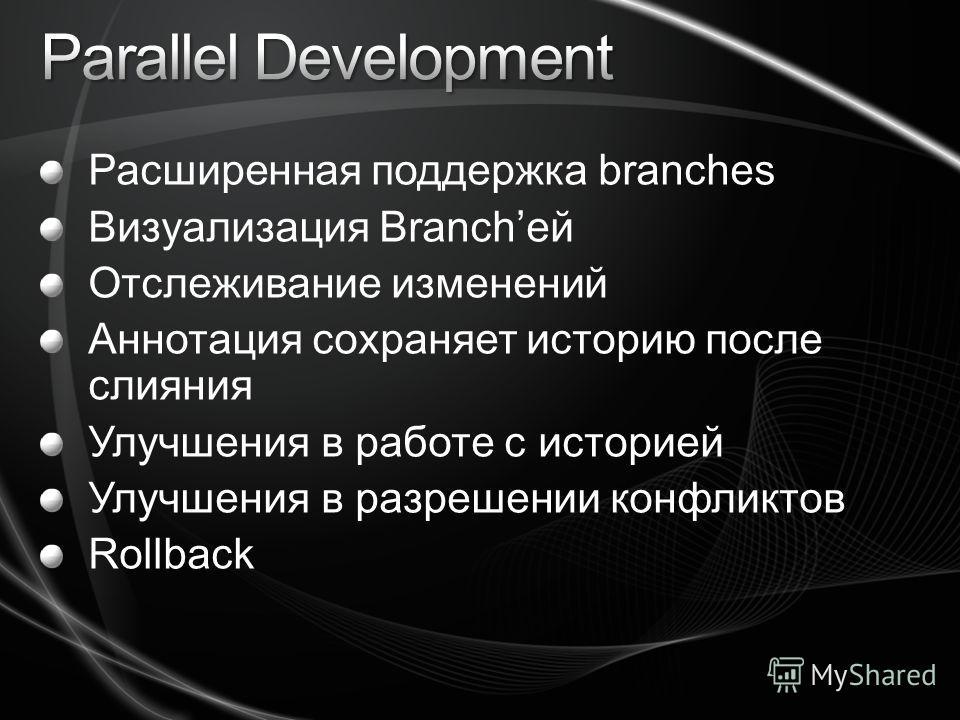 Расширенная поддержка branches Визуализация Branchей Отслеживание изменений Аннотация сохраняет историю после слияния Улучшения в работе с историей Улучшения в разрешении конфликтов Rollback