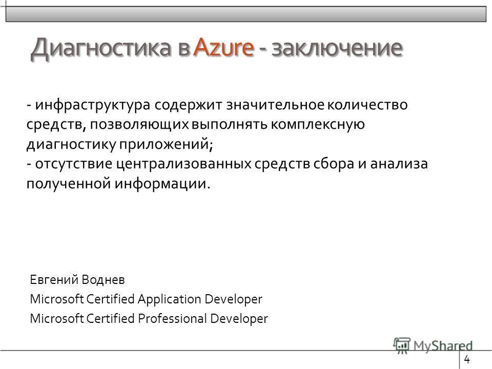 Диагностика в Azure - заключение Евгений Воднев Microsoft Certified Application Developer Microsoft Certified Professional Developer 4 - инфраструктура содержит значительное количество средств, позволяющих выполнять комплексную диагностику приложений