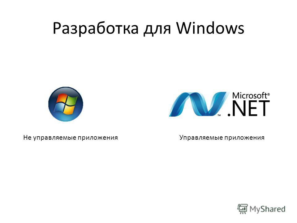Разработка для Windows Не управляемые приложенияУправляемые приложения