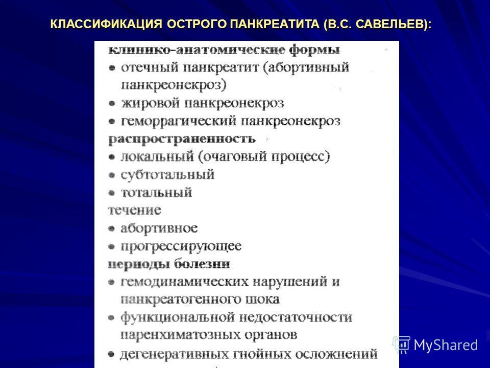 КЛАССИФИКАЦИЯ ОСТРОГО ПАНКРЕАТИТА (В.С. САВЕЛЬЕВ):