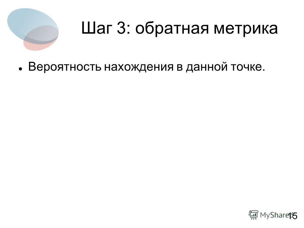Шаг 3: обратная метрика Вероятность нахождения в данной точке. 15