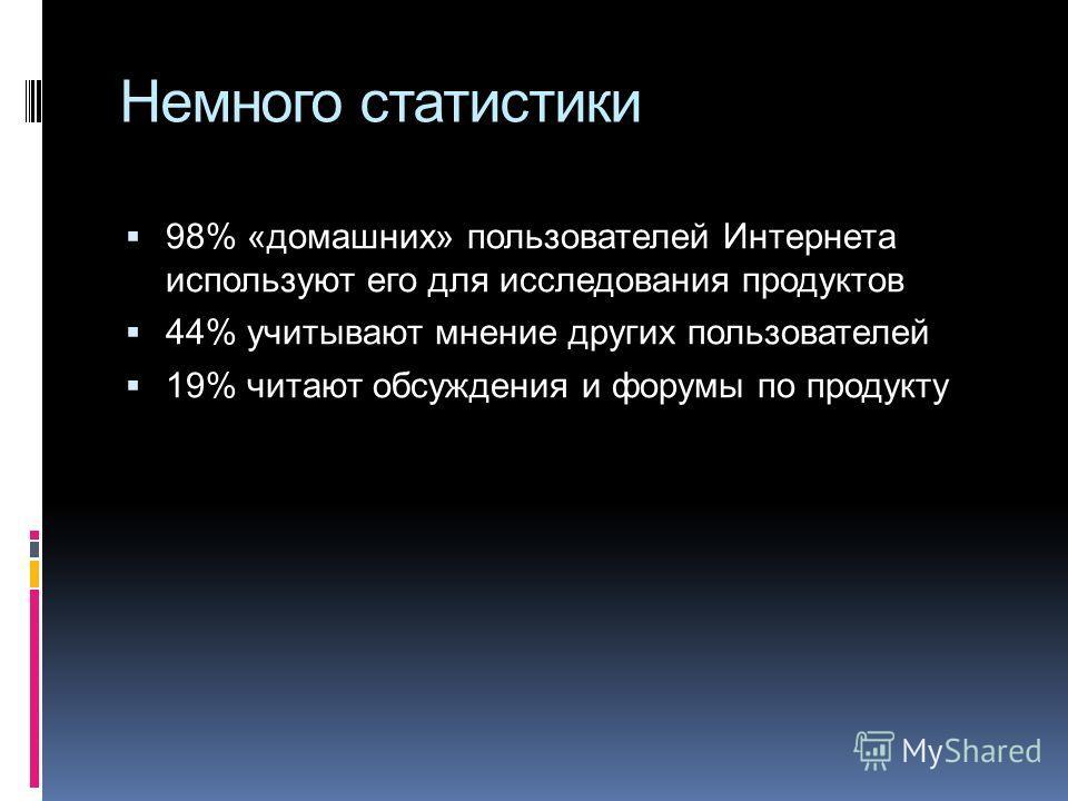 Немного статистики 98% «домашних» пользователей Интернета используют его для исследования продуктов 44% учитывают мнение других пользователей 19% читают обсуждения и форумы по продукту