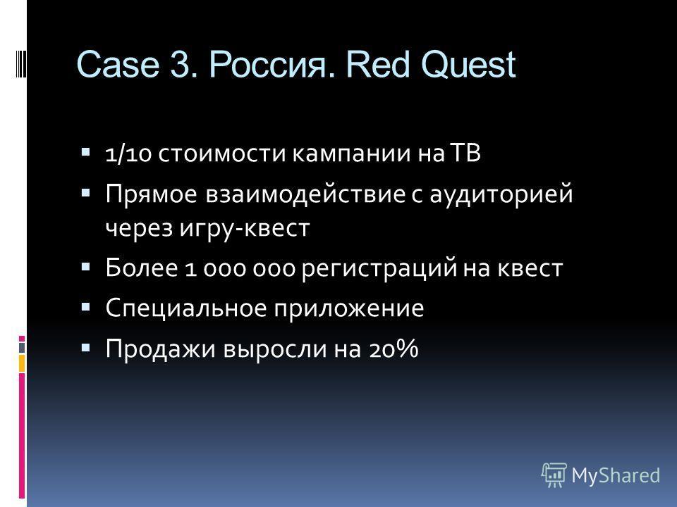 Case 3. Россия. Red Quest 1/10 стоимости кампании на ТВ Прямое взаимодействие с аудиторией через игру-квест Более 1 000 000 регистраций на квест Специальное приложение Продажи выросли на 20%