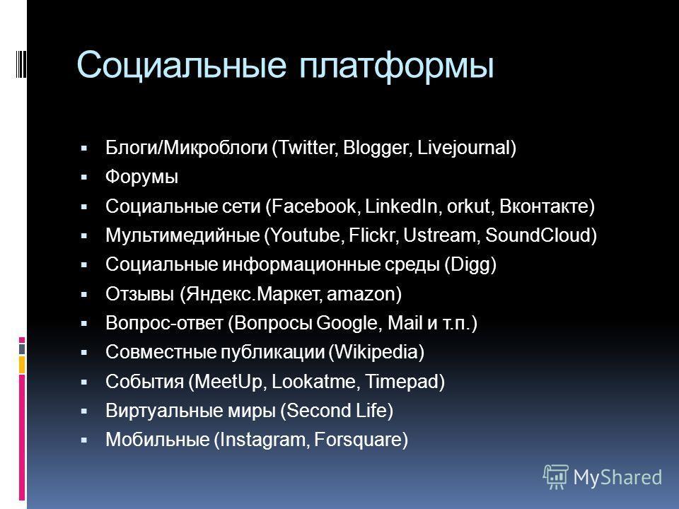 Социальные платформы Блоги/Микроблоги (Twitter, Blogger, Livejournal) Форумы Социальные сети (Facebook, LinkedIn, orkut, Вконтакте) Мультимедийные (Youtube, Flickr, Ustream, SoundCloud) Социальные информационные среды (Digg) Отзывы (Яндекс.Маркет, am
