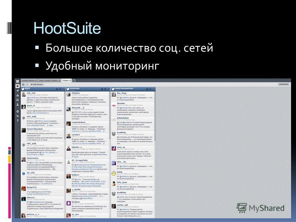 HootSuite Большое количество соц. сетей Удобный мониторинг