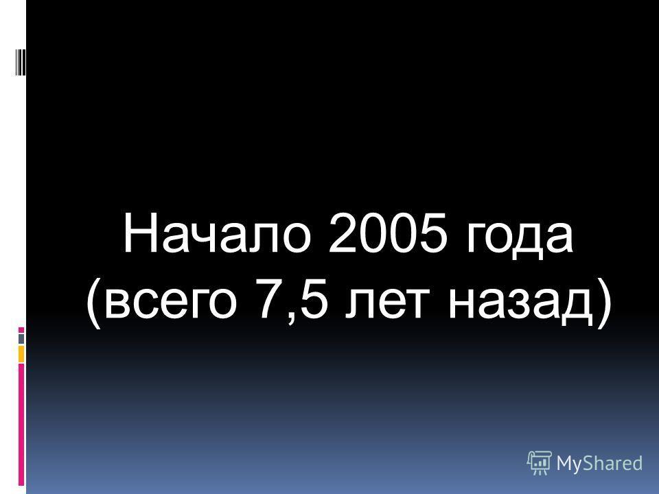 Начало 2005 года (всего 7,5 лет назад)