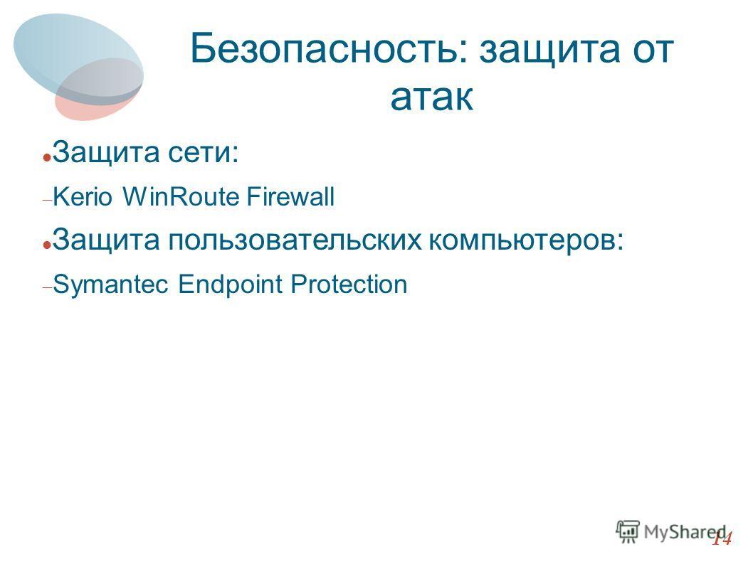 Архитектура HTTP 14 Безопасность: защита от атак Защита сети: Kerio WinRoute Firewall Защита пользовательских компьютеров: Symantec Endpoint Protection