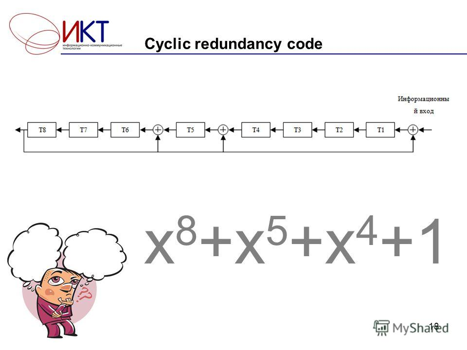 Cyclic redundancy code x 8 +x 5 +x 4 +1 18