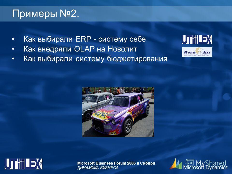 Microsoft Business Forum 2006 в Сибири ДИНАМИКА БИЗНЕСА Примеры 2. Как выбирали ERP - систему себе Как внедряли OLAP на Новолит Как выбирали систему бюджетирования