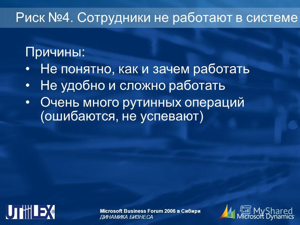 Microsoft Business Forum 2006 в Сибири ДИНАМИКА БИЗНЕСА Риск 4. Сотрудники не работают в системе Причины: Не понятно, как и зачем работать Не удобно и сложно работать Очень много рутинных операций (ошибаются, не успевают)