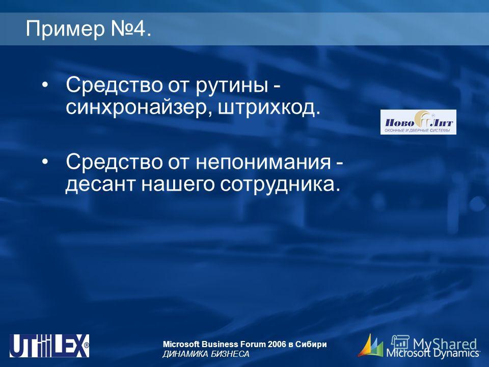 Microsoft Business Forum 2006 в Сибири ДИНАМИКА БИЗНЕСА Пример 4. Средство от рутины - синхронайзер, штрихкод. Средство от непонимания - десант нашего сотрудника.