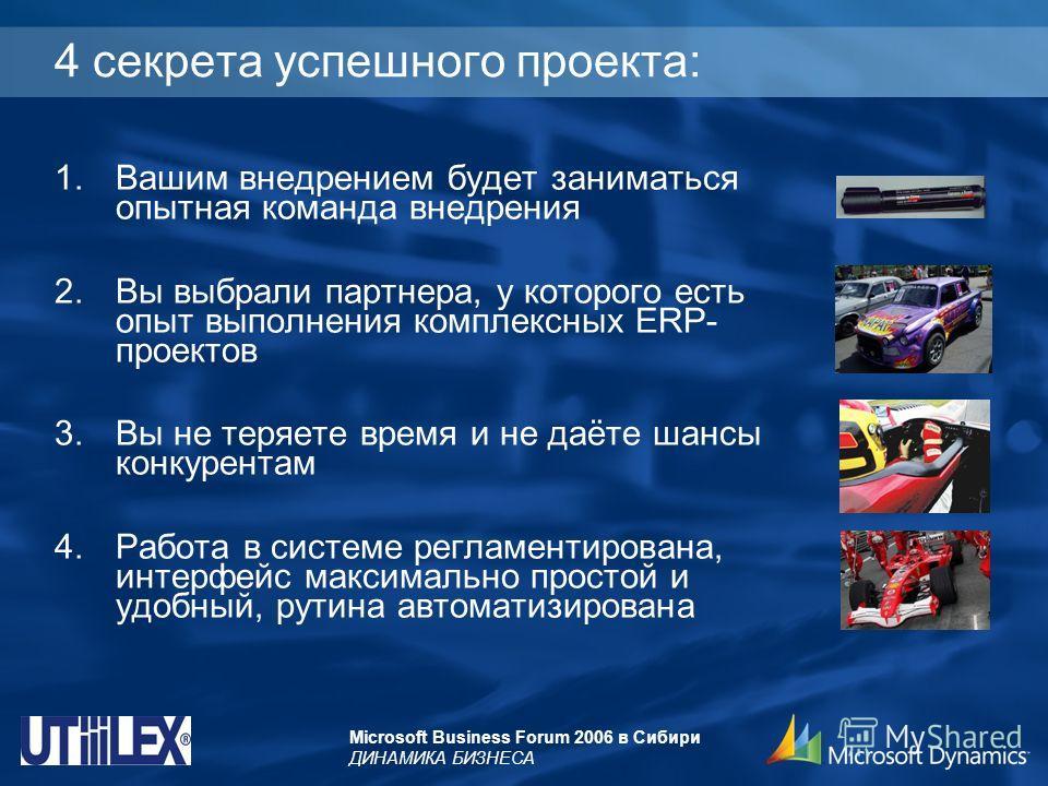 Microsoft Business Forum 2006 в Сибири ДИНАМИКА БИЗНЕСА 4 секрета успешного проекта: 1.Вашим внедрением будет заниматься опытная команда внедрения 2.Вы выбрали партнера, у которого есть опыт выполнения комплексных ERP- проектов 3.Вы не теряете время