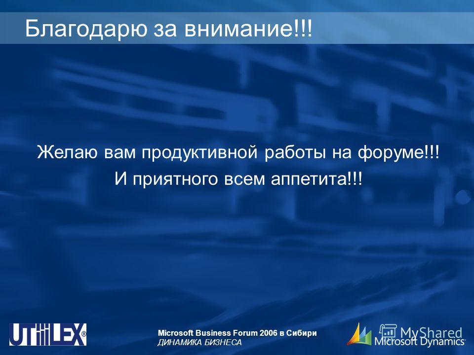 Microsoft Business Forum 2006 в Сибири ДИНАМИКА БИЗНЕСА Благодарю за внимание!!! Желаю вам продуктивной работы на форуме!!! И приятного всем аппетита!!!