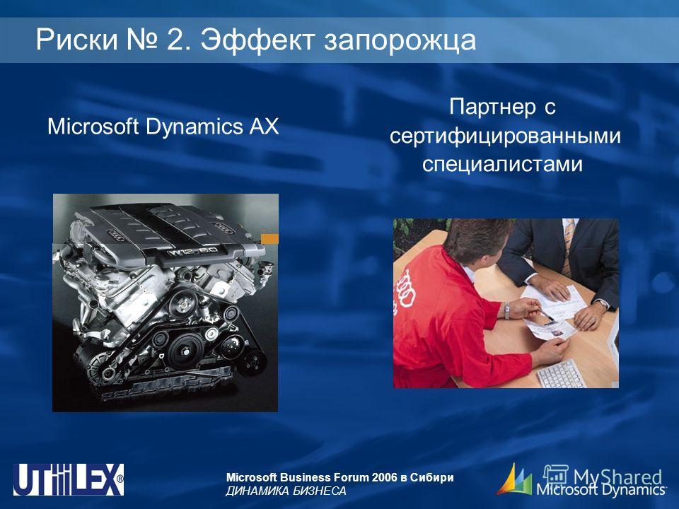 Microsoft Business Forum 2006 в Сибири ДИНАМИКА БИЗНЕСА Риски 2. Эффект запорожца Microsoft Dynamics AX Партнер с сертифицированными специалистами
