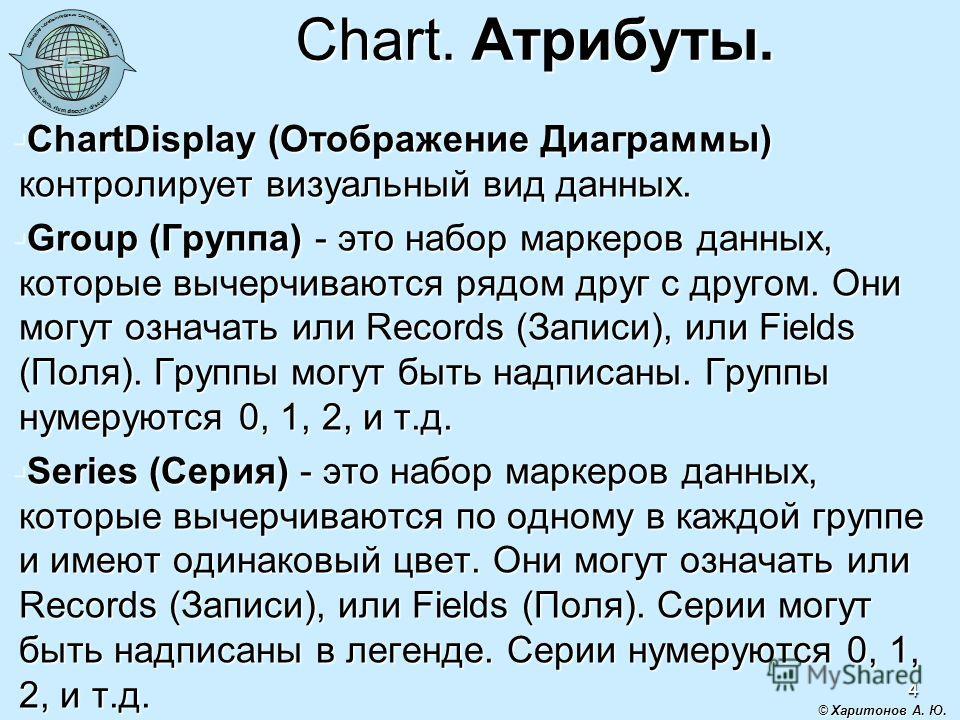 4 Chart. Атрибуты. ChartDisplay (Отображение Диаграммы) контролирует визуальный вид данных. ChartDisplay (Отображение Диаграммы) контролирует визуальный вид данных. Group (Группа) - это набор маркеров данных, которые вычерчиваются рядом друг с другом