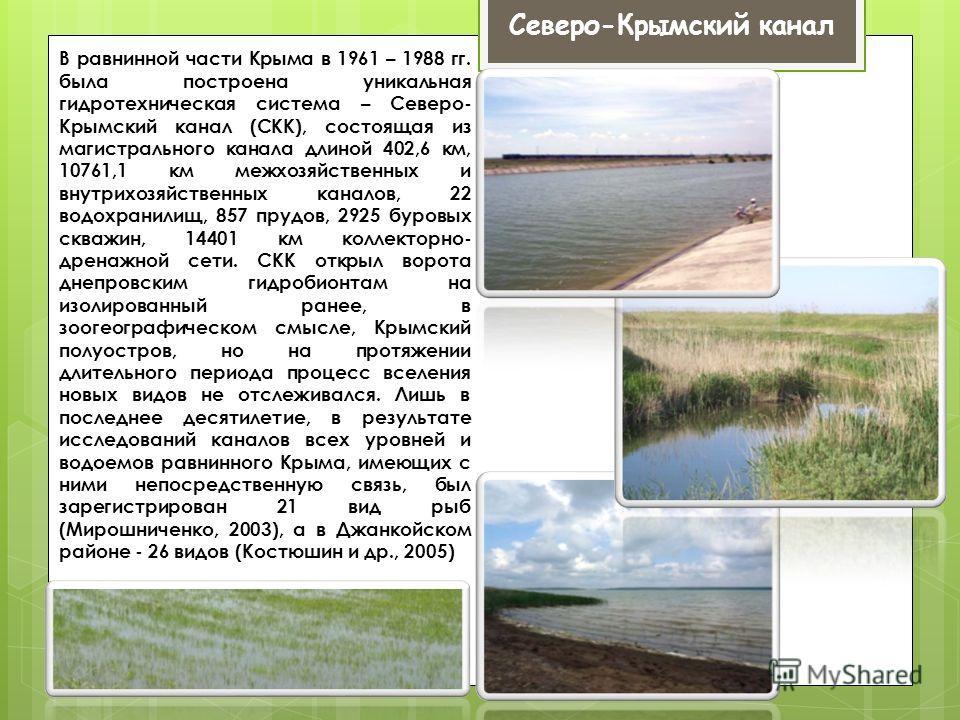 В равнинной части Крыма в 1961 – 1988 гг. была построена уникальная гидротехническая система – Северо- Крымский канал (СКК), состоящая из магистрального канала длиной 402,6 км, 10761,1 км межхозяйственных и внутрихозяйственных каналов, 22 водохранили