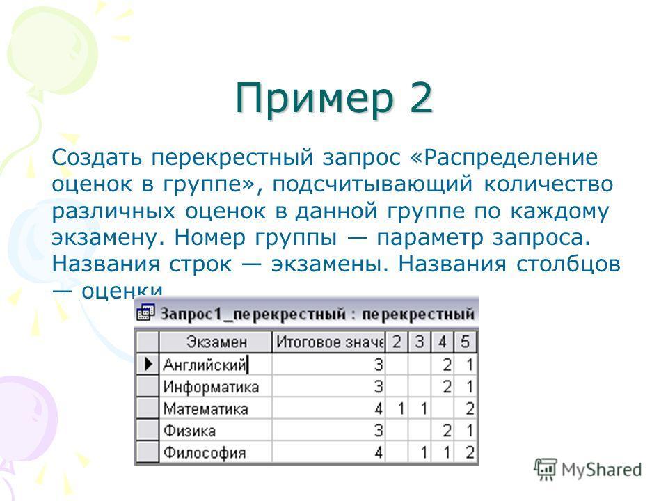 Пример 2 Создать перекрестный запрос «Распределение оценок в группе», подсчитывающий количество различных оценок в данной группе по каждому экзамену. Номер группы параметр запроса. Названия строк экзамены. Названия столбцов оценки.