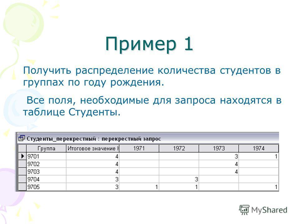 Пример 1 Получить распределение количества студентов в группах по году рождения. Все поля, необходимые для запроса находятся в таблице Студенты.