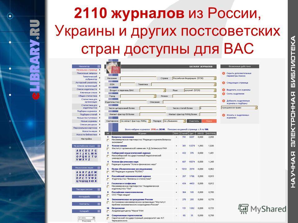 2110 журналов из России, Украины и других постсоветских стран доступны для ВАС