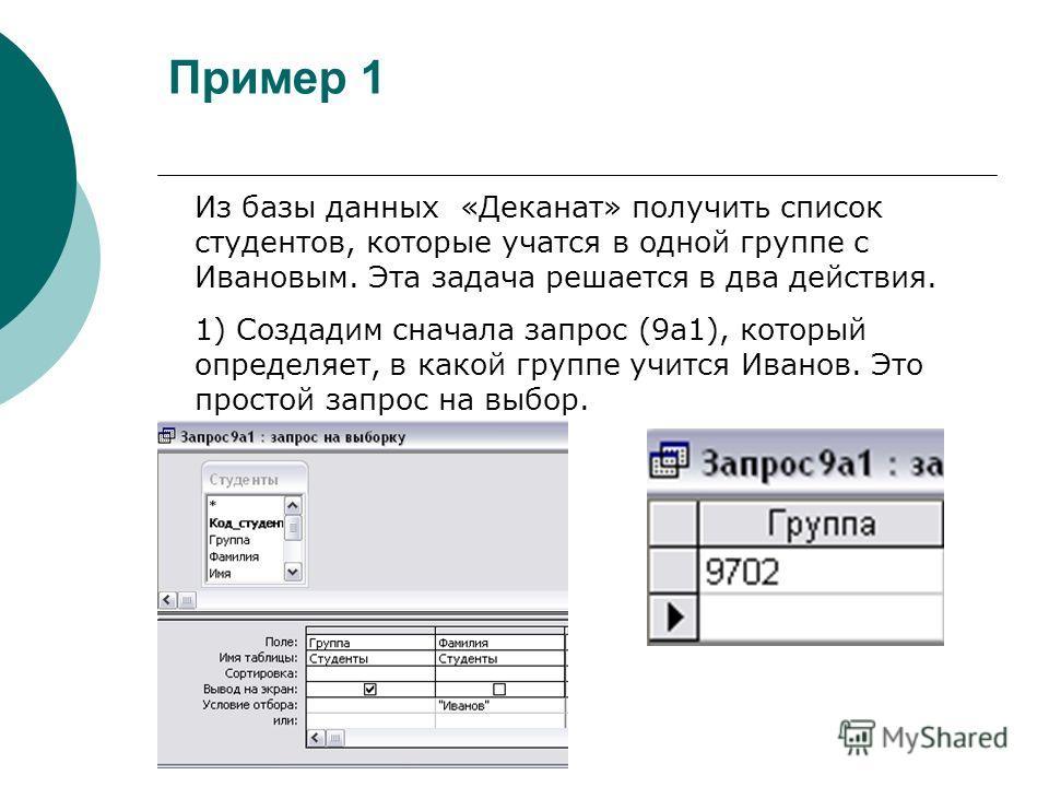 Пример 1 Из базы данных «Деканат» получить список студентов, которые учатся в одной группе с Ивановым. Эта задача решается в два действия. 1) Создадим сначала запрос (9а1), который определяет, в какой группе учится Иванов. Это простой запрос на выбор