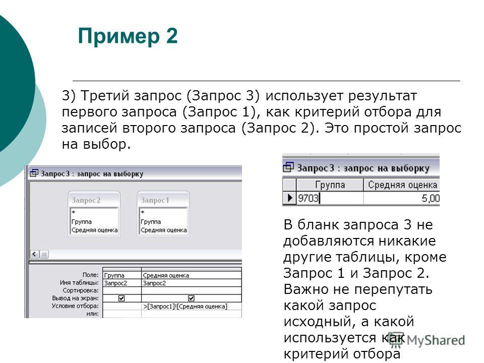 Пример 2 3) Третий запрос (Запрос 3) использует результат первого запроса (Запрос 1), как критерий отбора для записей второго запроса (Запрос 2). Это простой запрос на выбор. В бланк запроса 3 не добавляются никакие другие таблицы, кроме Запрос 1 и З