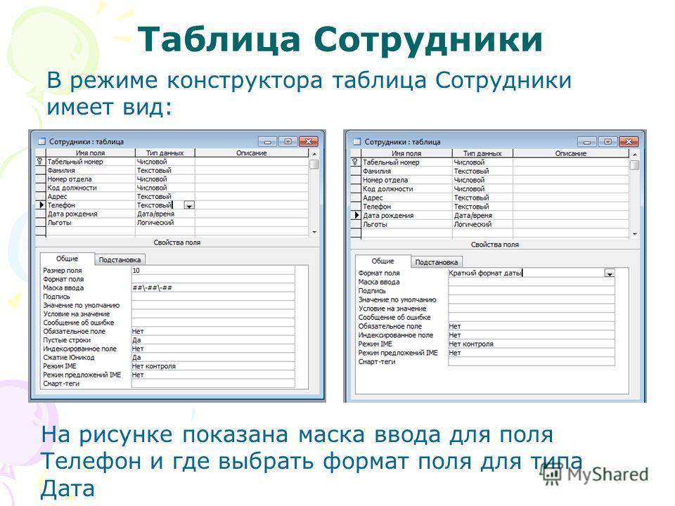 Таблица Сотрудники В режиме конструктора таблица Сотрудники имеет вид: На рисунке показана маска ввода для поля Телефон и где выбрать формат поля для типа Дата