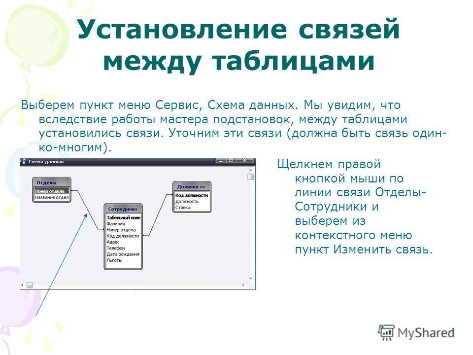 Установление связей между таблицами Выберем пункт меню Сервис, Схема данных. Мы увидим, что вследствие работы мастера подстановок, между таблицами установились связи. Уточним эти связи (должна быть связь один- ко-многим). Щелкнем правой кнопкой мыши