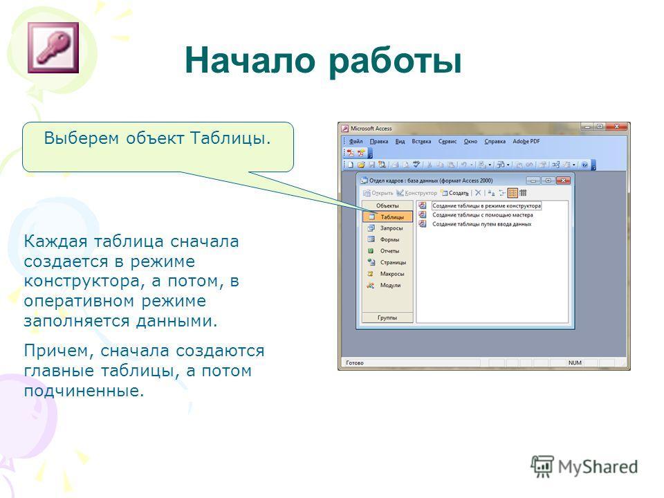 Начало работы Выберем объект Таблицы. Каждая таблица сначала создается в режиме конструктора, а потом, в оперативном режиме заполняется данными. Причем, сначала создаются главные таблицы, а потом подчиненные.