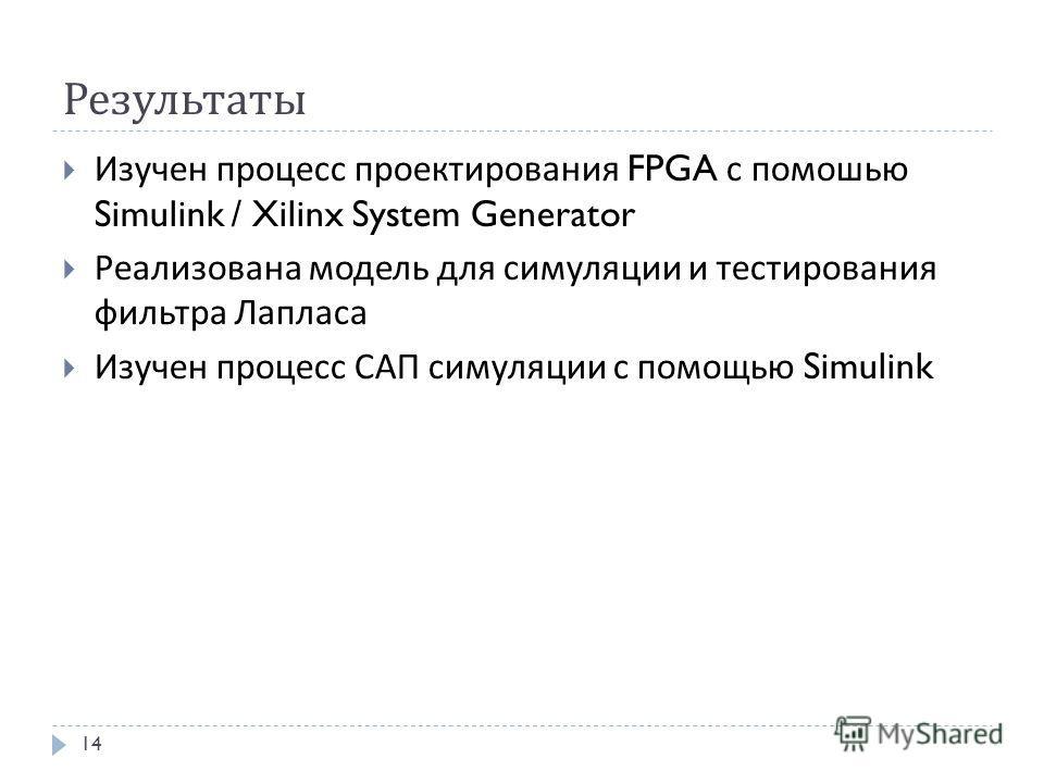 Результаты Изучен процесс проектирования FPGA с помошью Simulink / Xilinx System Generator Реализована модель для симуляции и тестирования фильтра Лапласа Изучен процесс САП симуляции с помощью Simulink 14