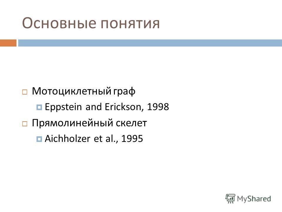 Основные понятия Мотоциклетный граф Eppstein and Erickson, 1998 Прямолинейный скелет Aichholzer et al., 1995