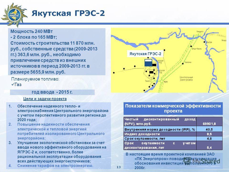 13 Якутская ГРЭС-2 Мощность 240 МВт - 2 блока по 165 МВт; Стоимость строительства 11 870 млн. руб., собственные средства (2009-2013 гг.) 363,6 млн. руб., необходимо привлечение средств из внешних источников в период 2009-2013 гг. в размере 5655,9 млн
