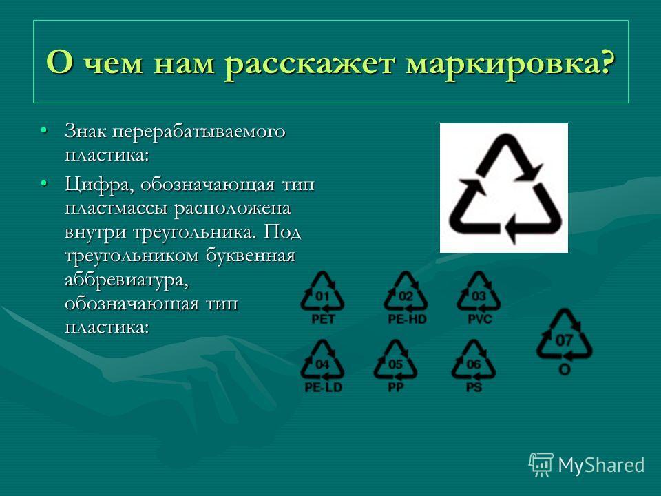 О чем нам расскажет маркировка? Знак перерабатываемого пластика:Знак перерабатываемого пластика: Цифра, обозначающая тип пластмассы расположена внутри треугольника. Под треугольником буквенная аббревиатура, обозначающая тип пластика:Цифра, обозначающ