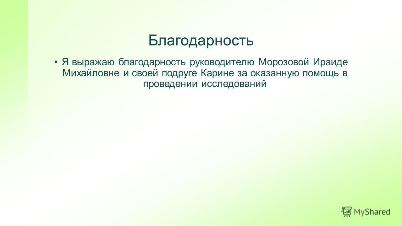 Благодарность Я выражаю благодарность руководителю Морозовой Ираиде Михайловне и своей подруге Карине за оказанную помощь в проведении исследований