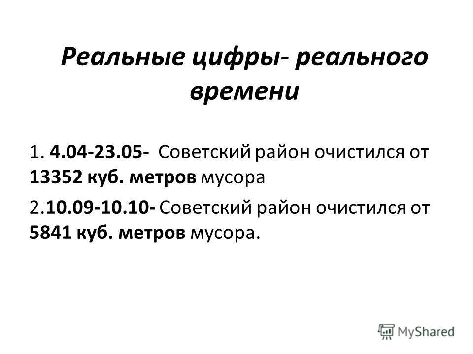 Реальные цифры- реального времени 1. 4.04-23.05- Советский район очистился от 13352 куб. метров мусора 2.10.09-10.10- Советский район очистился от 5841 куб. метров мусора.