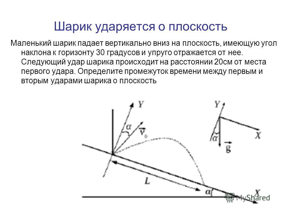 Шарик ударяется о плоскость Маленький шарик падает вертикально вниз на плоскость, имеющую угол наклона к горизонту 30 градусов и упруго отражается от нее. Следующий удар шарика происходит на расстоянии 20см от места первого удара. Определите промежут