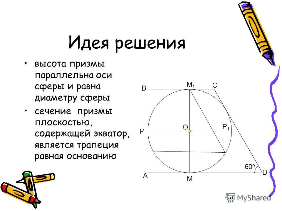Идея решения высота призмы параллельна оси сферы и равна диаметру сферы сечение призмы плоскостью, содержащей экватор, является трапеция равная основанию М М1М1 P P1P1 60 o A B C D O