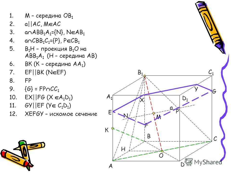 1.M – середина ОВ 1 2.a||AC, M AC 3.a ABB 1 A 1 ={N}, N AB 1 4.a CBB 1 C 1 ={P}, P CB 1 5.B 1 H – проекция B 1 O на ABB 1 A 1 (Н – середина АВ) 6.ВК (К – середина АА 1 ) 7.EF||BK (N EF) 8.FP 9.{G} = FP CC 1 10.EX||FG (X A 1 D 1 ) 11.GY||EF (Y C 1 D 1