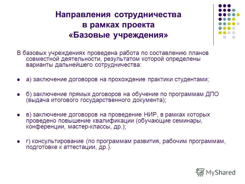 Направления сотрудничества в рамках проекта «Базовые учреждения» В базовых учреждениях проведена работа по составлению планов совместной деятельности, результатом которой определены варианты дальнейшего сотрудничества: а) заключение договоров на прох